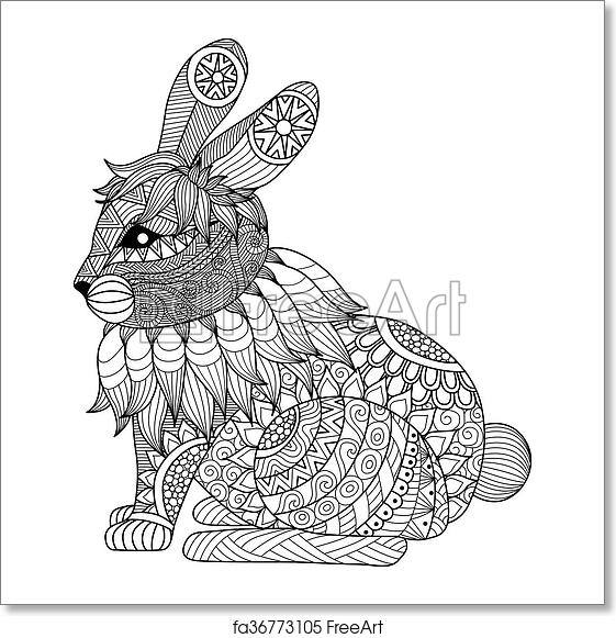 Free Art Print Of Rabbit Coloring Page Clean Lines Doodle Art