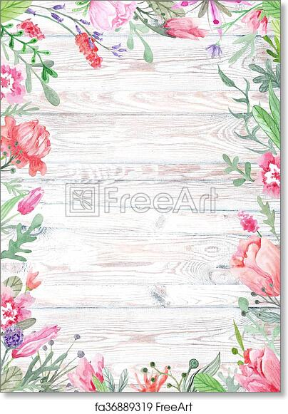 Free Art Print Of Watercolor Floral Frame On Wood Background Shabby