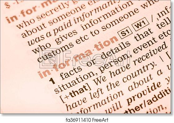 Free art print of Vocabulary word information