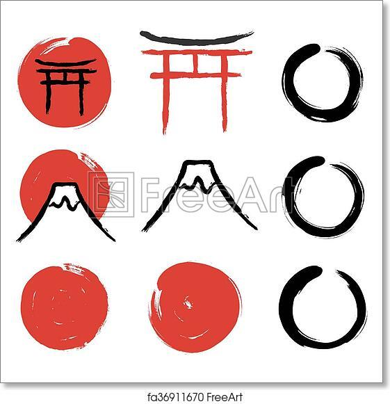 Free Art Print Of Japanese Calligraphy Symbols Set Of Hand Drawn