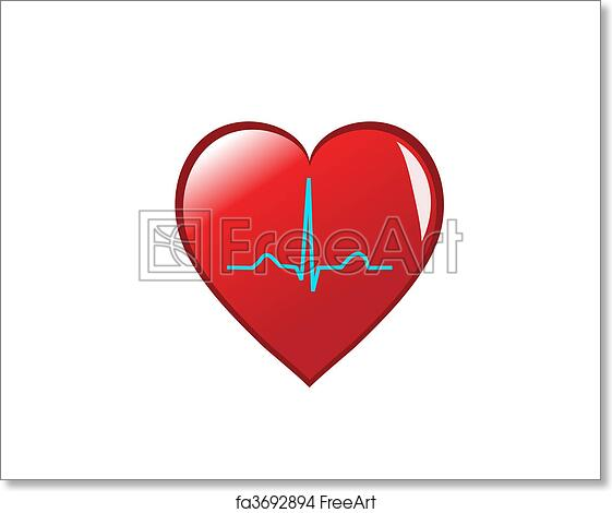 Free art print of A red heart with a healthy sinus rhythm on it depicting a  healthy heart  Isolated on white