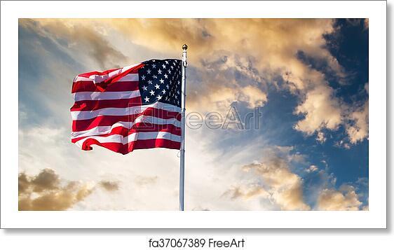 Free art print of American flag waving