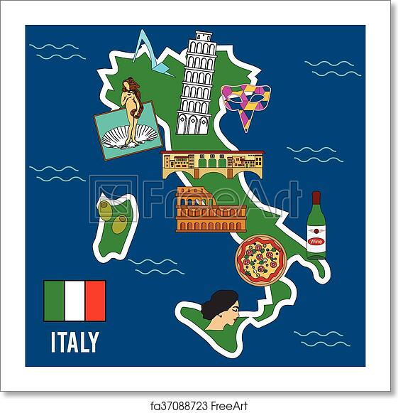 Free Art Print Of Italy Travel Set Famous Places And Symbols Of