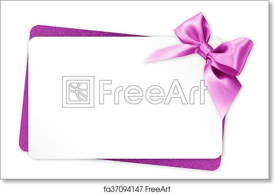 Free Art Print Of Gift Card With Pink Ribbon Bow Isolated On White