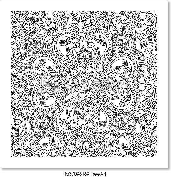 Free art print of Coloring pages for adults. Seamles Henna Mehndi ...