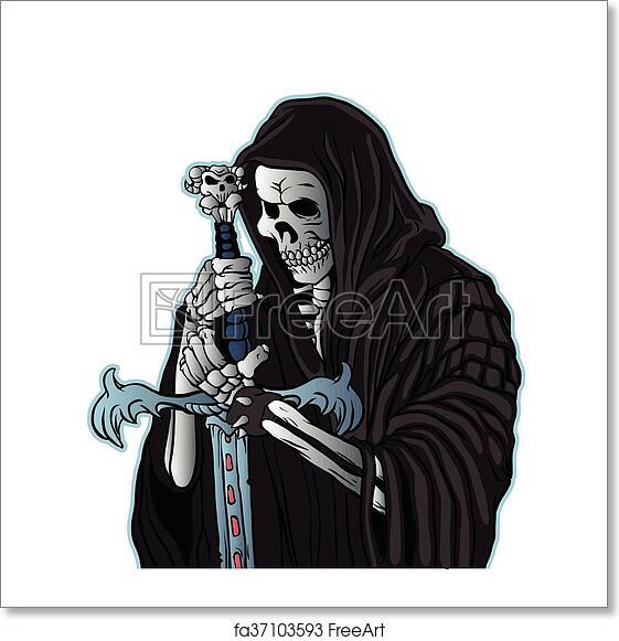 Free art print of Grim reaper with sword