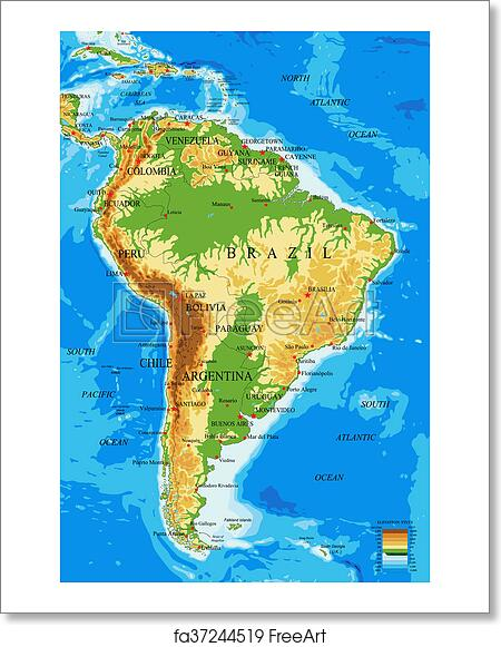 Free art print of South America-physical map