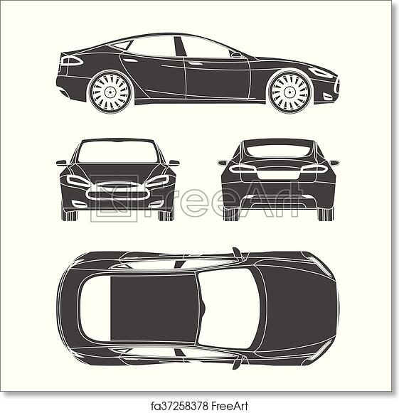 Free art print of Car silhouette draw four all view top side back  insurance, rent damage, condition report form blueprint
