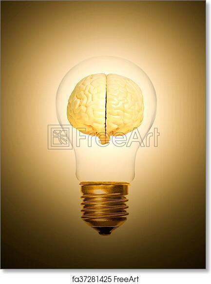 Free Art Print Of Brain Light Bulb Lit