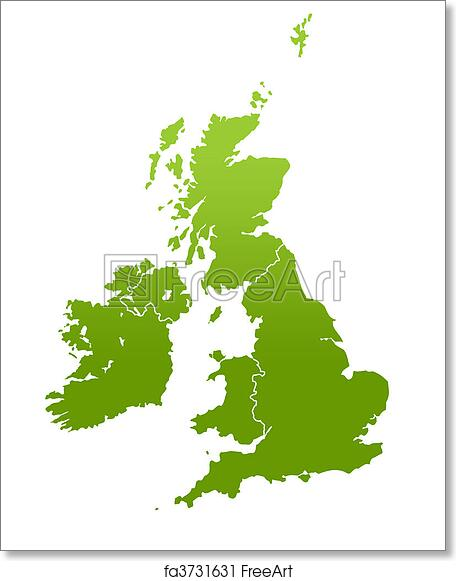 picture regarding Printable Map of Uk and Ireland called Absolutely free artwork print of United kingdom and Eire map