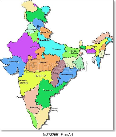 picture relating to Printable Map of India named Cost-free artwork print of Colour India map