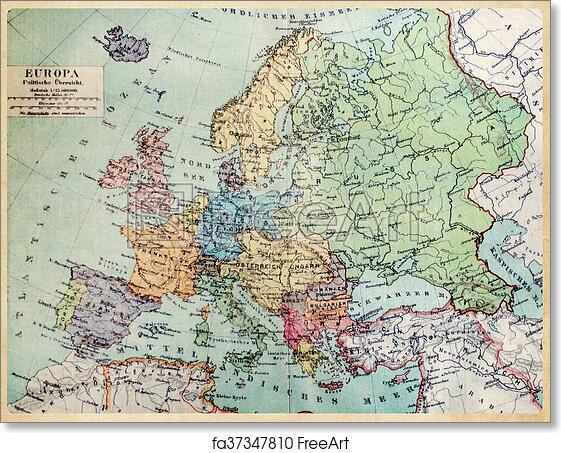 Free Art Print Of Historical Map Of Old Europe. 1900 Years.