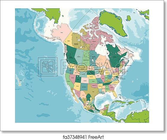 Map Of Usa Canada.Free Art Print Of North America Map With Usa Canada And Mexico The