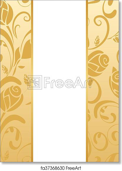 Free Art Print Of Gold Floral Wedding Invitation Vector Wedding