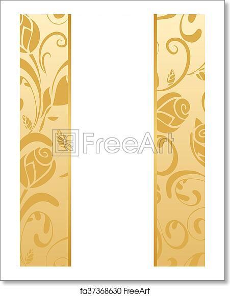 Free Art Print Of Gold Floral Wedding Invitation