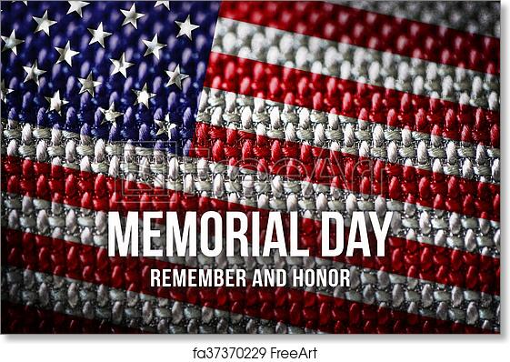 free art print of memorial day on american flag background text