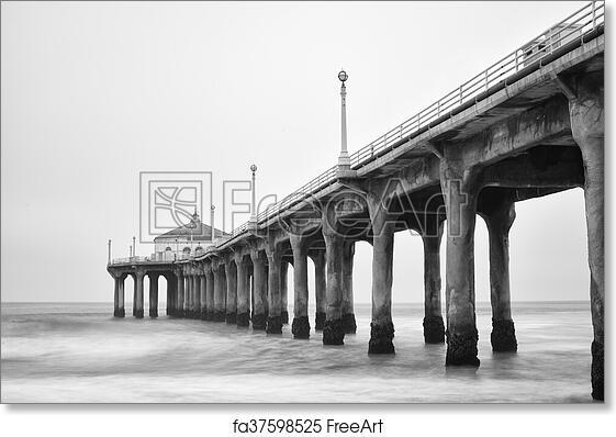 Free Art Print Of Black And White Photo Of Manhattan Beach Pier