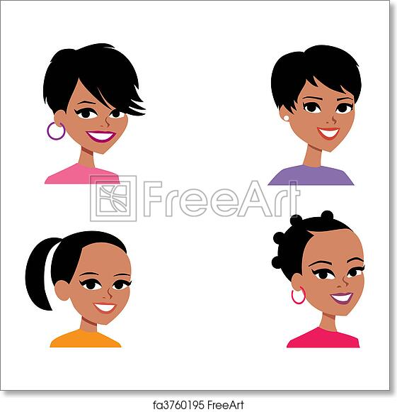 free art print of cartoon avatar portrait illustration women