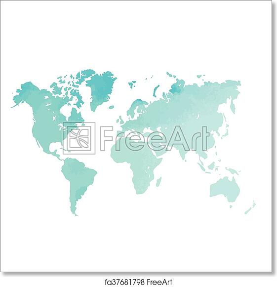 photo about Free Printable World Map Poster named Absolutely free artwork print of Watercolor planet map.