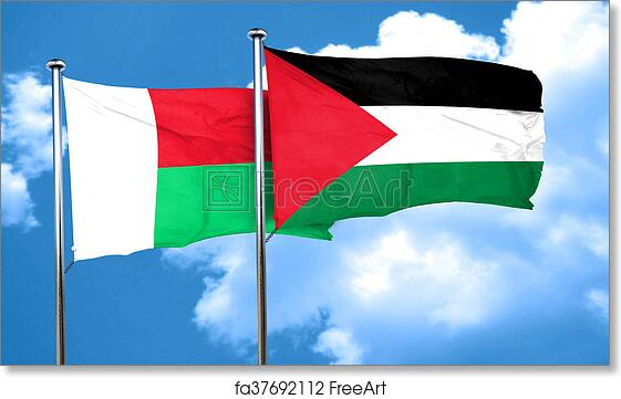 Free Art Print Of Madagascar Flag With Palestine Flag D - Madagascar flag