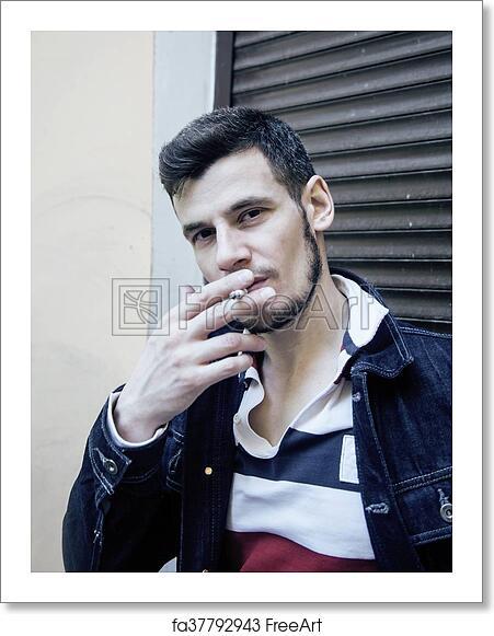 Free art print of Middle age man smoking cigarette on backjard, stylish  tough guy, lifestyle people concept