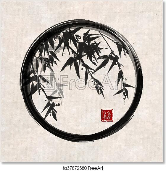 9eedce766bc4c Free art print of Bamboo trees in black enso zen circle. Bamboo trees in  black enso zen circle hand-drawn with ink in traditional Japanese painting  style ...