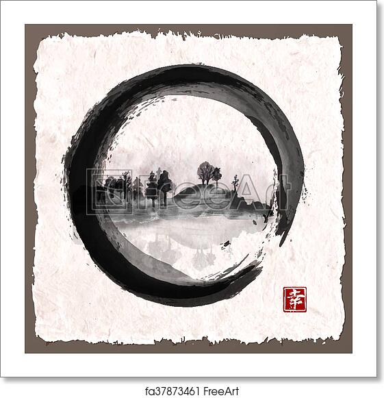 3c4f436340536 Island with trees in black enso zen circle on vintage background.  Traditional Japanese ink painting sumi-e. Vector illustration.