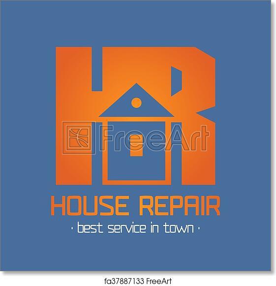 Free art print of Home, house repair vector logo, badge, design element,  emblem, icon