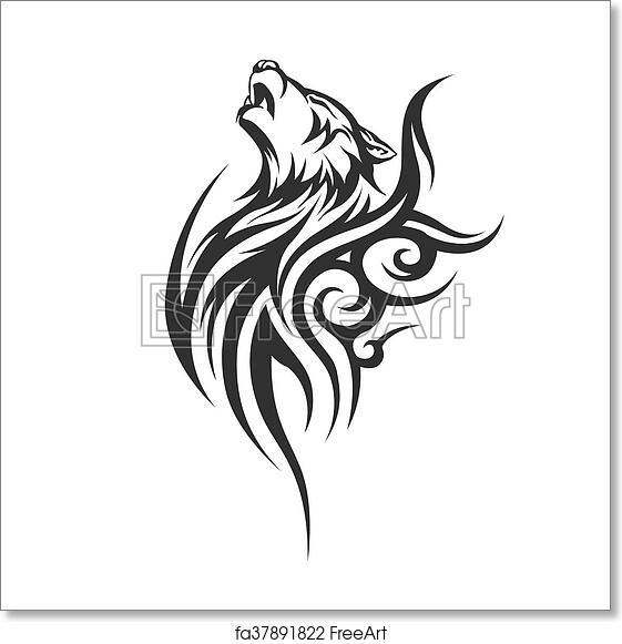 Free Art Print Of Black Wolf Tattoo Illustration