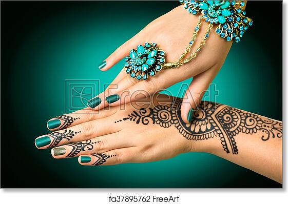Free Art Print Of Woman S Hands With Mehndi Tattoo Hands Of Indian