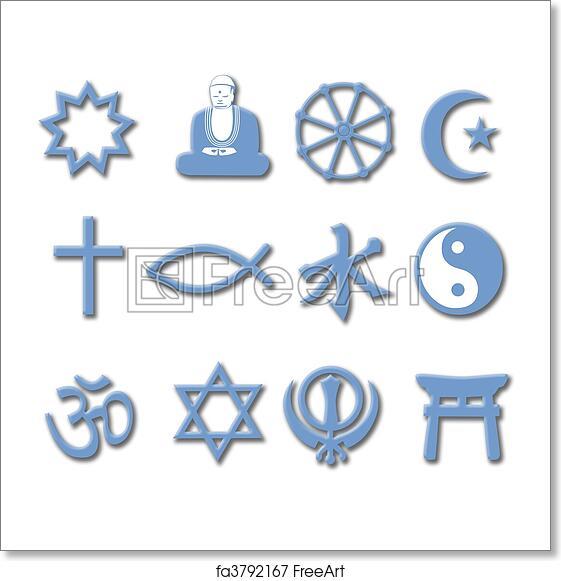 Free Art Print Of Religion Symbol Set 3d Major World Religions Drop