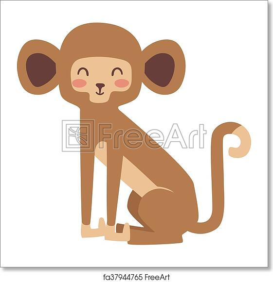 free art print of monkey vector illustration cartoon monkeys vector