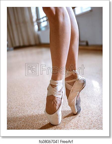 Free Art Print Of The Close Up Feet Of Young Ballerina In Pointe Shoes The Close Up Feet Of Young Ballerina In Pointe Shoes Against The Floor Freeart Fa38067041