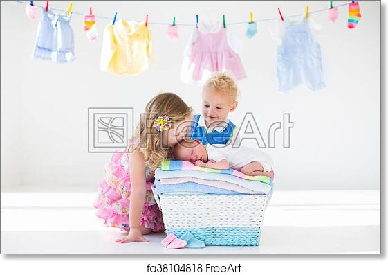 Free Art Print Of Brother And Sister Kissing Newborn Baby