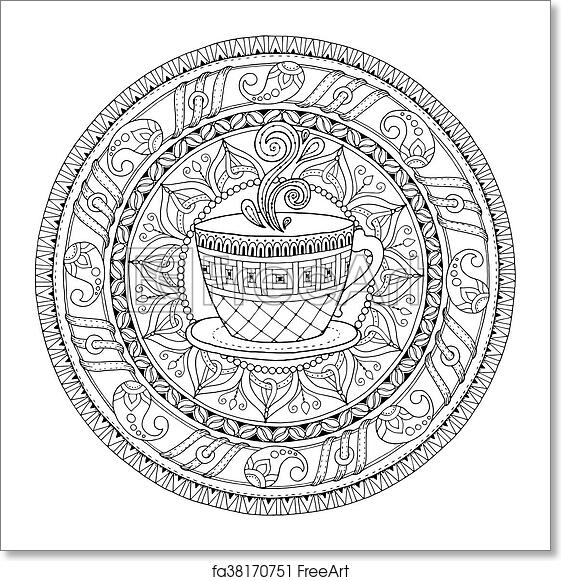 Circle Tribal Doodle Ornament With Cup Of Coffee Hand Drawn Art Mandala Black And White Ethnic Background Zentangle Pattern For Coloring Book Adults