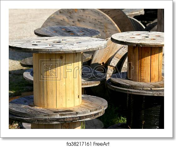 Free Art Print Of Wooden Spools For The Transport Of Electric Cables