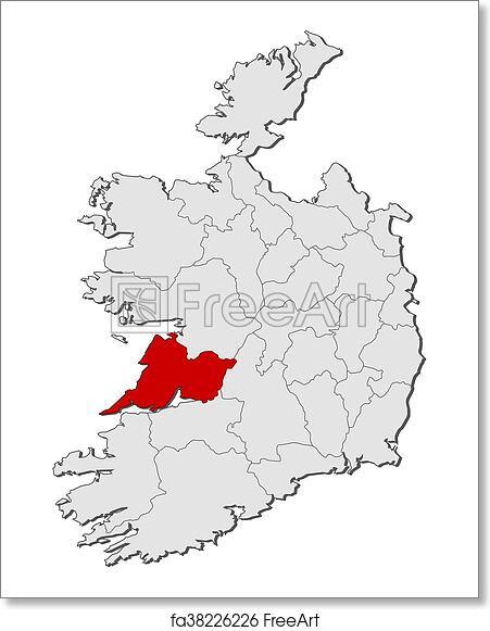 Print Map Of Ireland.Free Art Print Of Map Ireland Clare