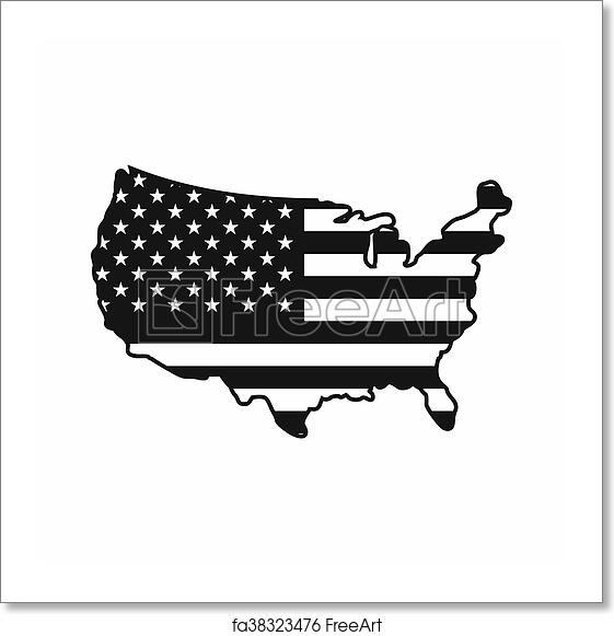 Free Art Print Of Usa Map Icon Simple Style Usa Map Icon In Simple