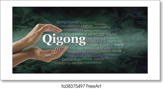 Free art print of Qigong word cloud and healing hands