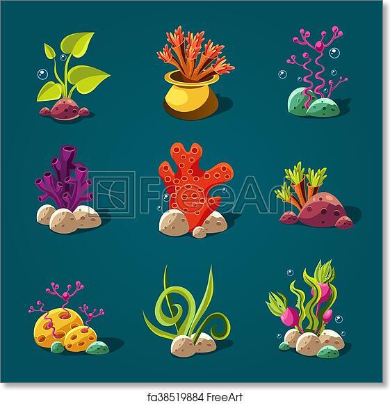 Free Art Print Of Set Of Cartoon Algae Elements For Aquarium Decoration