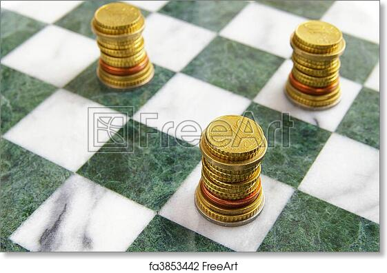 Free Art Print Of Euro Eu Coins Arranged On A Chess Board