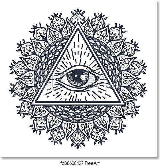 3ef128c39b64b Free art print of All Seeing Eye in Triangle and Mandal. Vintage All Seeing  Eye in Triangle and Mandala. Providence magic symbol for print, tattoo, ...