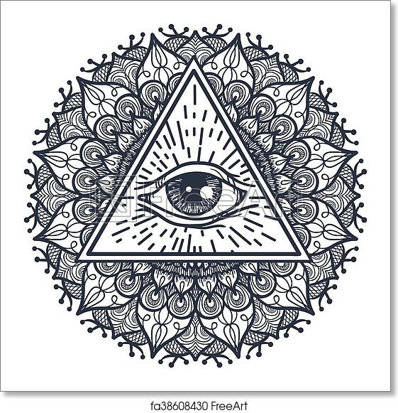 Free art print of All Seeing Eye in Triangle and Mandal. Vintage All ...