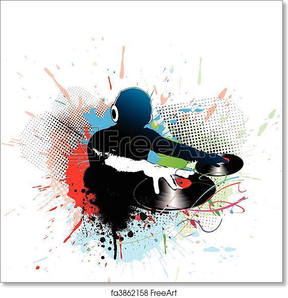 Free art print of Dj man playing tunes