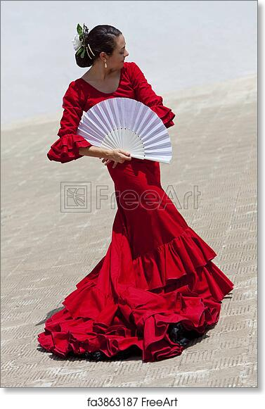 30ae8645401bf Free art print of Traditional Woman Spanish Flamenco Dancer In Red Dress  With Fan | FreeArt | fa3863187