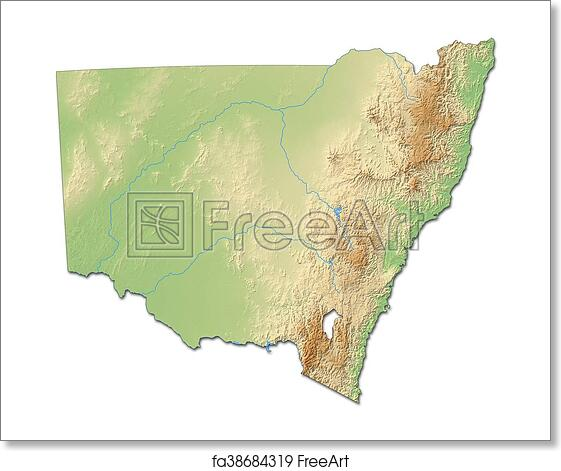 3d Map Of South Australia.Free Art Print Of Relief Map New South Wales Australia 3d Rendering