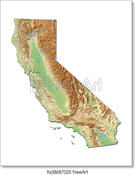 Free art print of Relief map - California (United States) - 3D ...