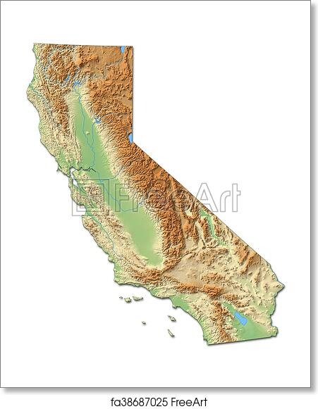 Relief Map Of United States.Free Art Print Of Relief Map California United States 3d