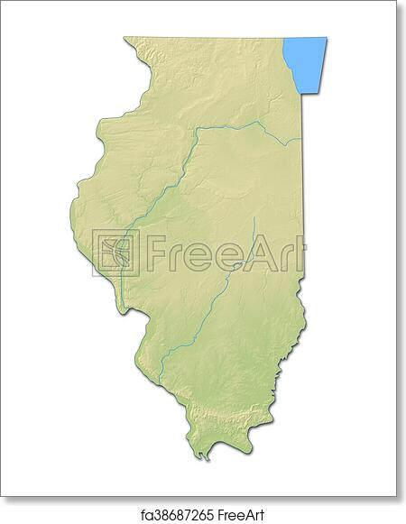 Relief Map Of United States.Free Art Print Of Relief Map Illinois United States 3d