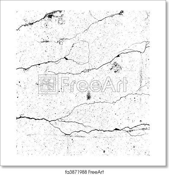 Free art print of Elegant split black on white crack pattern on concrete  bump alpha map for 3d use